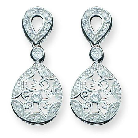 Sterling Silver Cz Dangle Earrings Ear Jewelry
