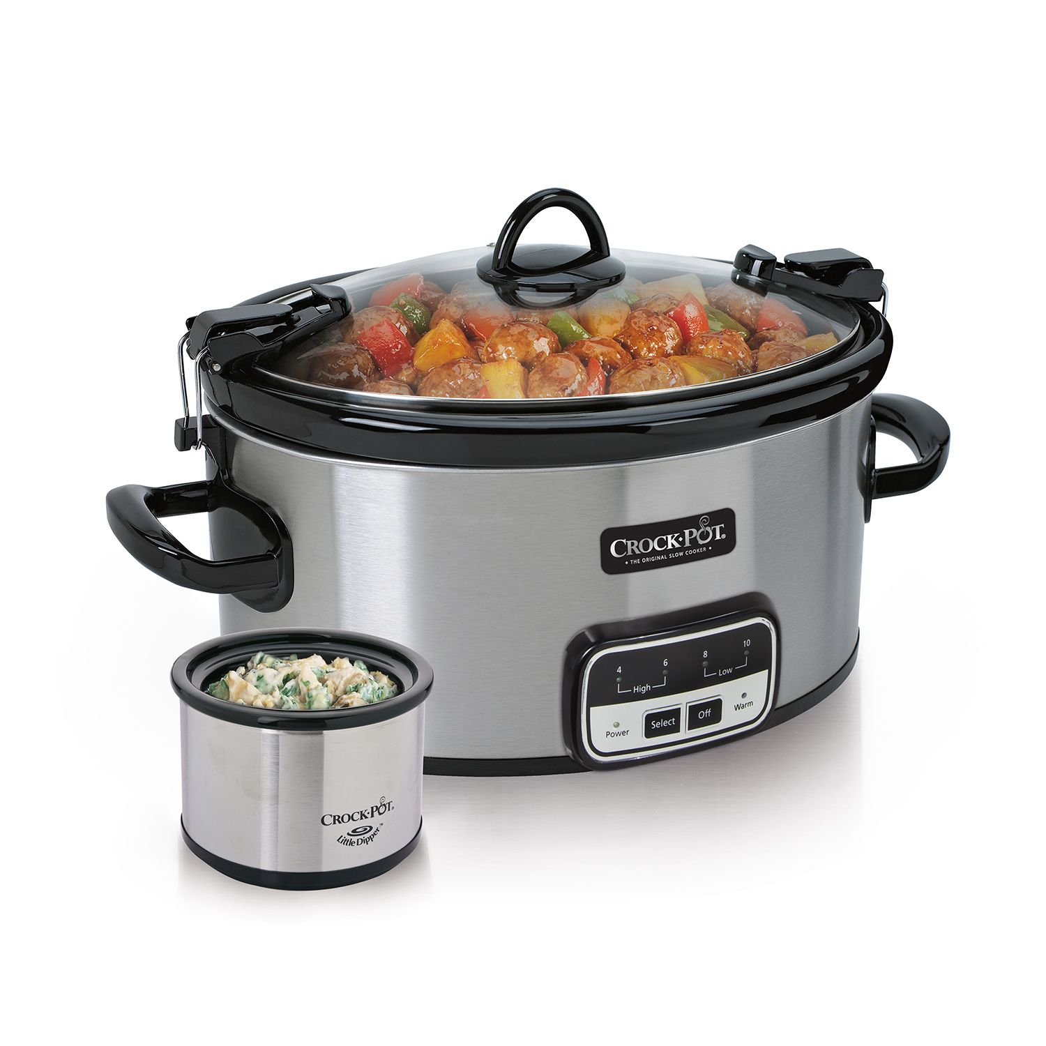 Crock-Pot 6-Quart Cook and Carry Slow Cooker with Little Dipper Warmer (Silver)