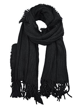 Sassy Scarves Women's Knitted Fringe Detail Winter Shawl Scarf (Black)