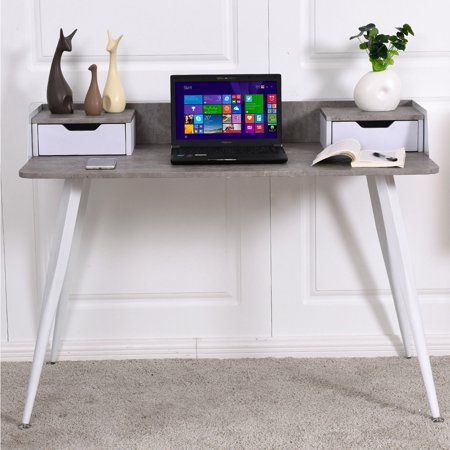 Study Writing Computer Desk PC Laptop Table w/ 2 Drawers Home Office Furniture - image 3 de 8