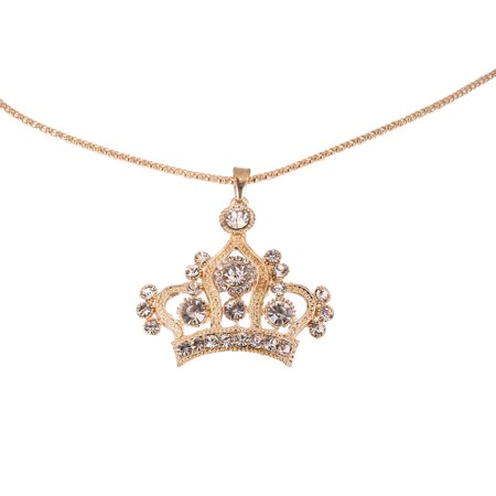 Elegant Gold Tone Crystal Rhinestone Crown Charm Pendant Long Necklace
