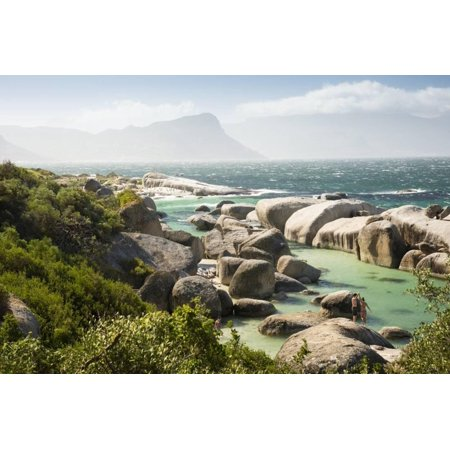 - Second Beach at High Tide with Boulders Visible, Boulders Beach National Park, Simonstown Print Wall Art By Kimberly Walker