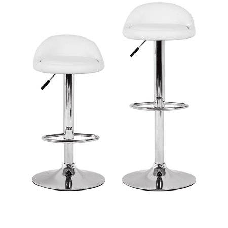 White Bar Stool Height Adjustable Swivel Metal Counter