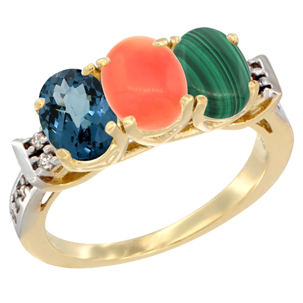 10K Yellow Gold Natural London Blue Topaz, Coral & Malachite Ring 3-Stone Oval 7x5 mm Diamond Accent, sizes 5 10 by WorldJewels