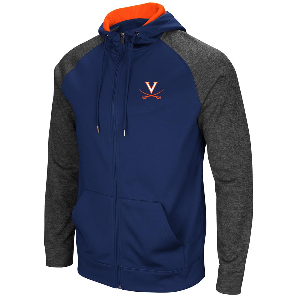 University of Virginia Cavaliers Men's Full ZipHoodie Fleece Jacket by Colosseum