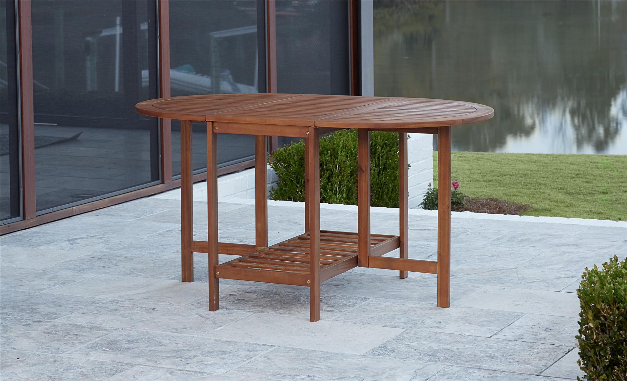 COSCO Outdoor Living Acacia Wood Folding Drop Leaf Patio Dining Table With  Chair Storage, Brown   Walmart.com