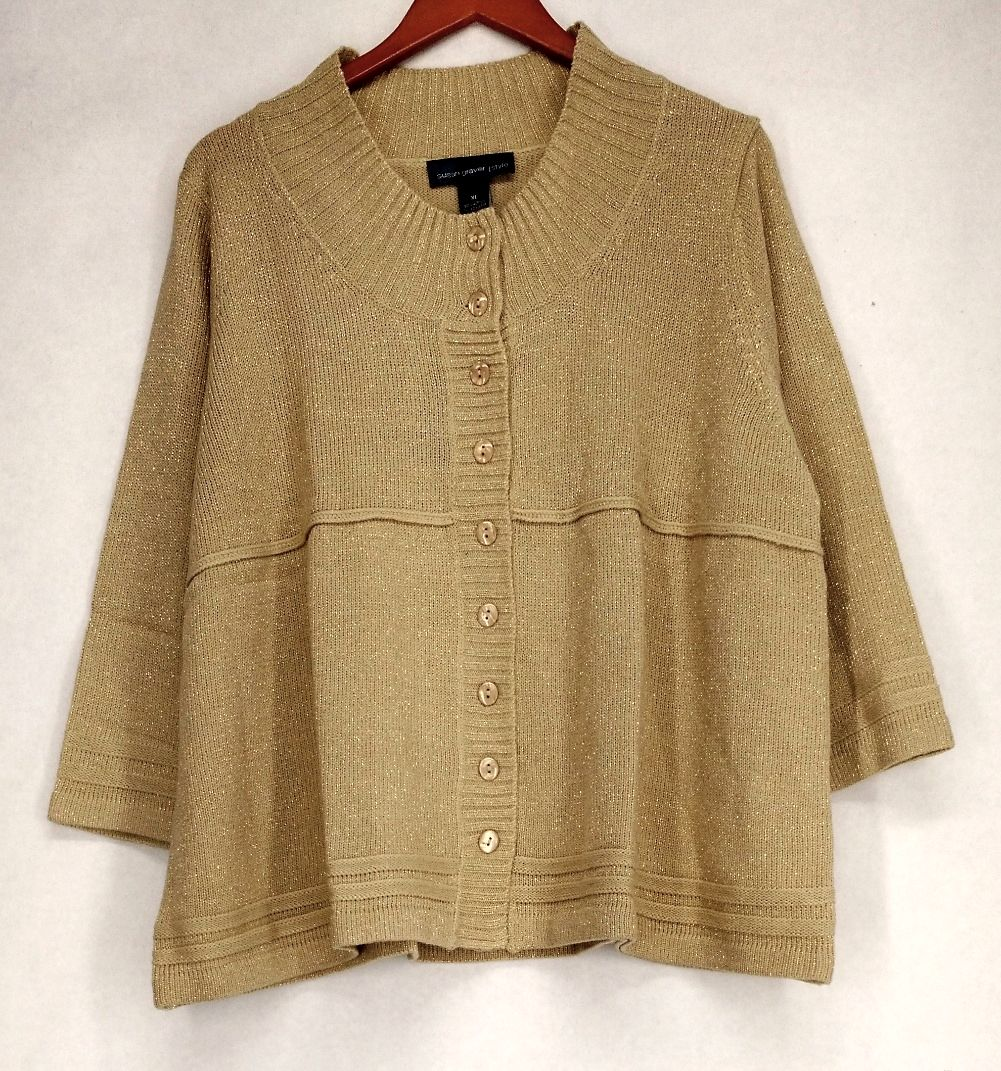 Susan Graver Size XL Sparkling 3/4 Sleeve Cardigan Beige Sweater A82752