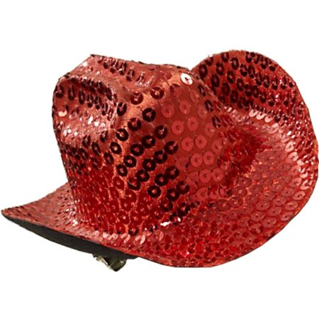 Women's Red Sequin Mini Micro Cowboy Cowgirl Wild West Hat