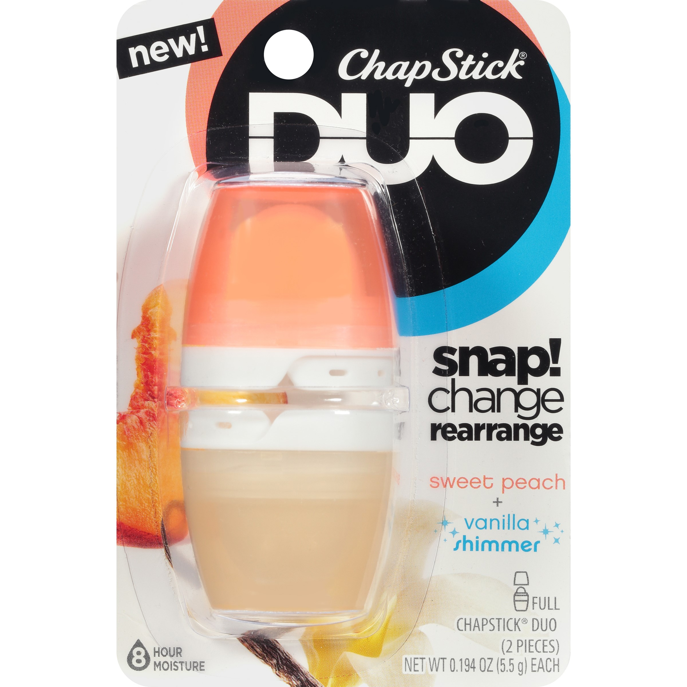 (2 pack) ChapStick Duo Blister Card, Sweet Peach Vanilla Shimmer, 0.4 Oz