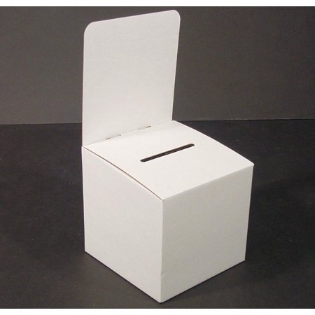 Set of 10, Large Suggestion Box with Removable Header, Cardboard Ballot Box for Tabletop Use, White (WCBB)](Ballot Boxes)