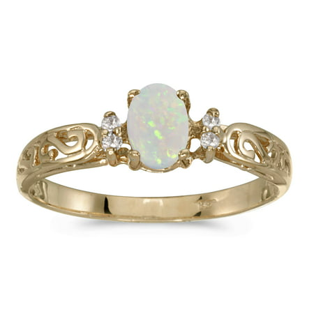 14k Yellow Gold Oval Opal And Diamond Filigree Ring