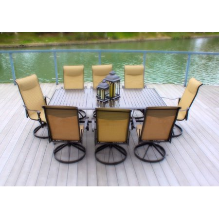 9pc Cast Aluminum Sling Swivel Patio Dining Set with Slat Top Table (Bronze & Cream) with Hand Woven Wicker Serving Bar- (Sling Bronze)