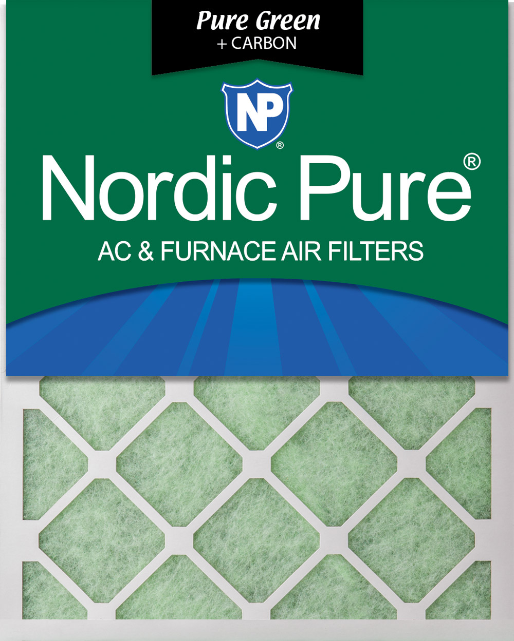 Nordic Pure 12x18x1 Pure Green Plus Carbon Eco-Friendly AC Furnace Air Filters 3 Pack 3 Piece