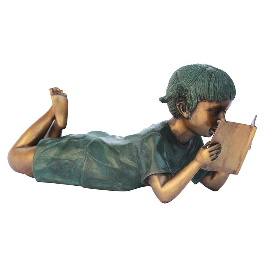 Bookworm Girl, Garden Reader Bronze Statue by Design Toscano