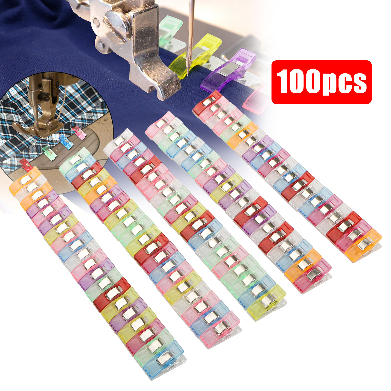 Growlier 100 Pack Multicolor Sewing Clip for Sewing Binding Quilting Crafting