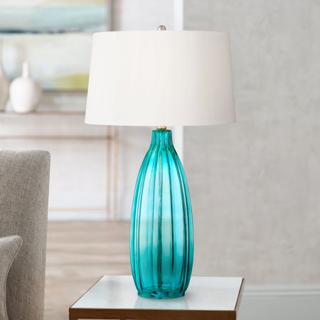 360 Lighting Modern Table Lamp Clear Blue Fluted Glass White Drum Shade for Living Room Family Bedroom Bedside Nightstand ()