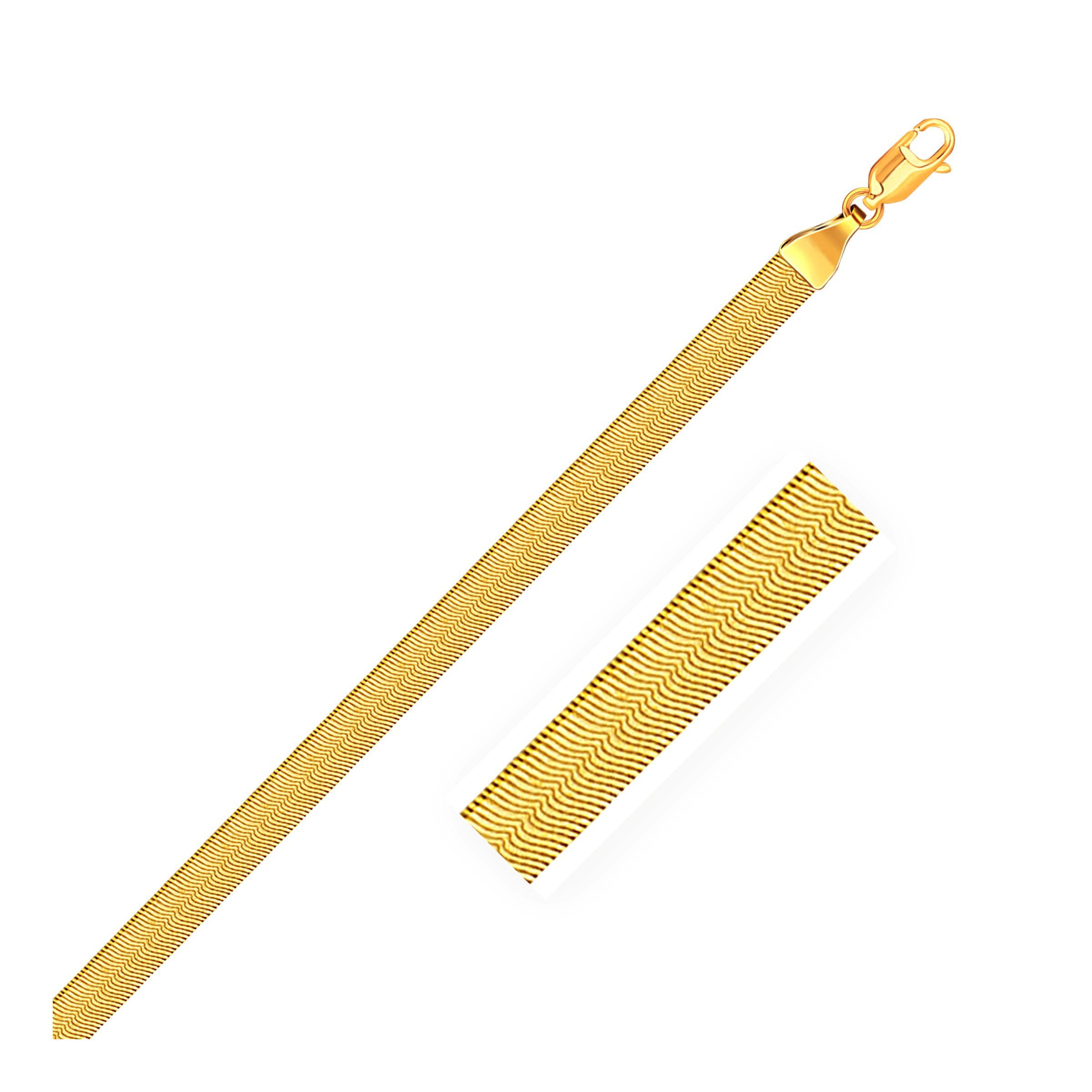 "5.0mm 14K Yellow Gold Super Flex Herringbone Bracelet 8"" by Mia Diamonds"