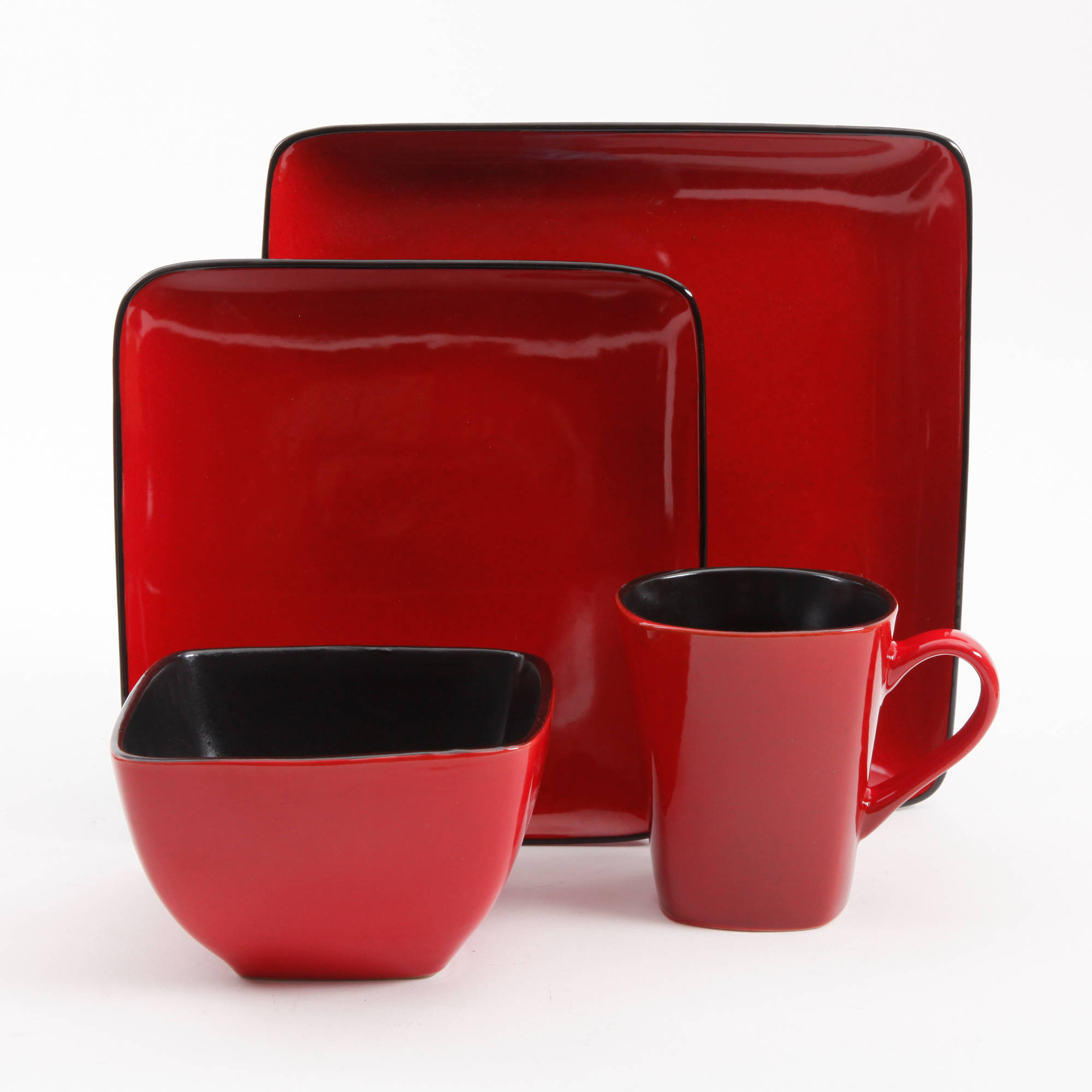 3703947eabd20 16-Piece Stoneware Dinnerware Set Square Dinner Holiday Dishes Service For  4 Red