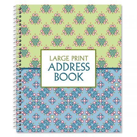 "Fresh Patterns Large Print Address Book, 56 pages, 7"" x 8-1/2"", large print"