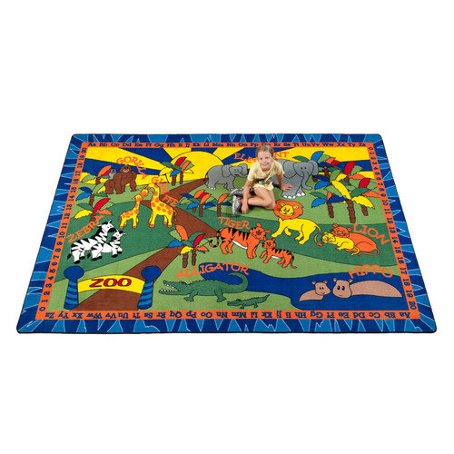 Kid Carpet Animals at the Zoo Area Rug