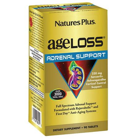 Natures Plus. AgeLoss surrénale support 90 comprimés. Sans gluten. Végétarien