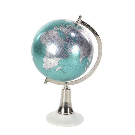 Decmode Contemporary 15 Inch Cyan Marble And Plastic Globe, Cyan, Silver