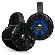 Belva BWT4LED - Pair of 400W 4-inch Powersports/ATV/UTV Speaker Pods with Blue LED Lighting