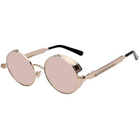 Steampunk Retro Gothic Vintage Gold Metal Round Circle Frame Sunglasses Pink (Pink Circle Sunglasses)