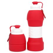580ml Collapsible Silicone Water Bottle with Carabiner for Cycling Gym Hiking Camping Travel Office
