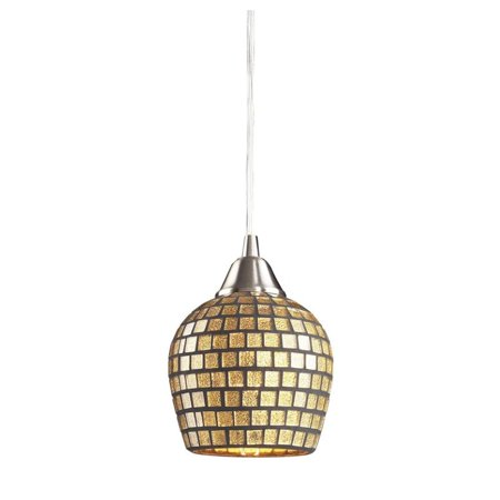 - Elk Lighting Fusion LED Pendant in Satin Nickel and Gold Leaf Glass