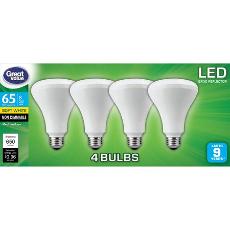 Great Value LED Light Bulb, 8W (65W Equivalent) BR30 Reflector Lamp E26 Medium base, Non-Dimmable, Soft White,