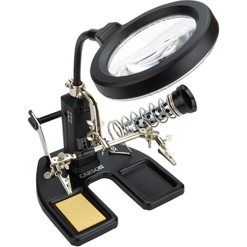 Carson Pro Series SolderMag 6-in-1 LED Lighted 2x/4x Magnifier Lamp w/ Assistant Stand