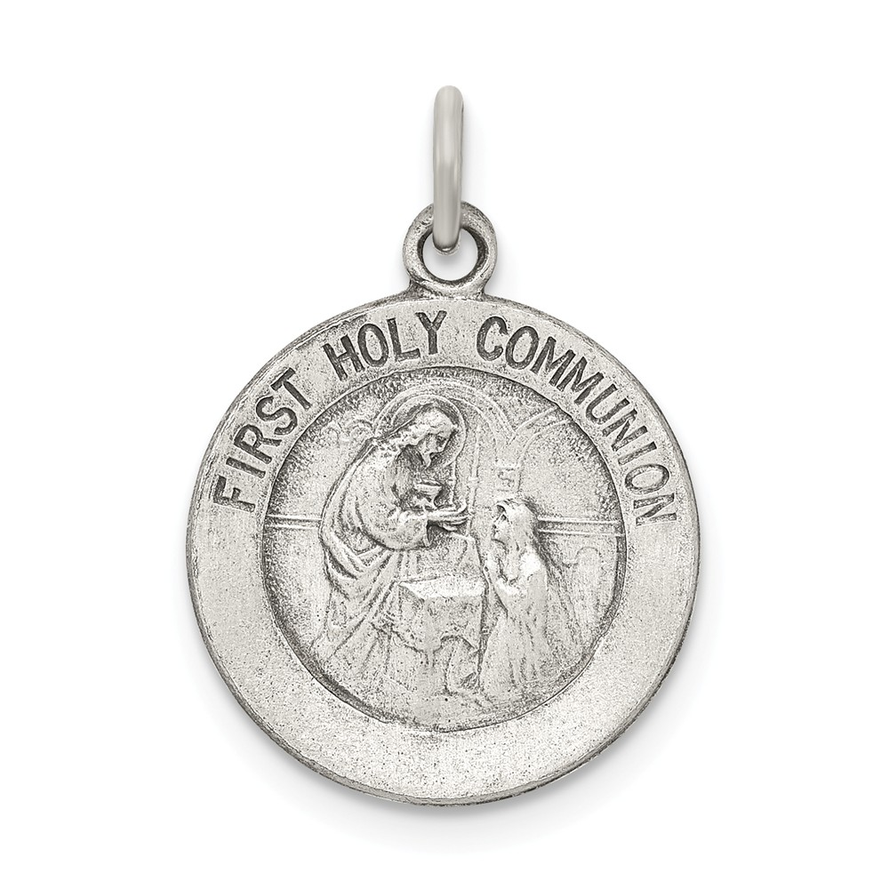 Sterling Silver Engravable Antiqued First Holy Communion Medal
