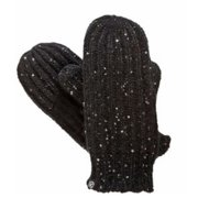 Isotoner Womens Chunky Black Sparkle Cable Knit Mittens with Sherpasoft Lining