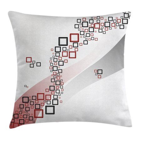 Abstract Decor Throw Pillow Cushion Cover, Fractal Square Shaped Geometric Forms with Wavy Two Color Backdrop Artwork, Decorative Square Accent Pillow Case, 18 X 18 Inches, Grey Red, by Ambesonne](Geometric Form)