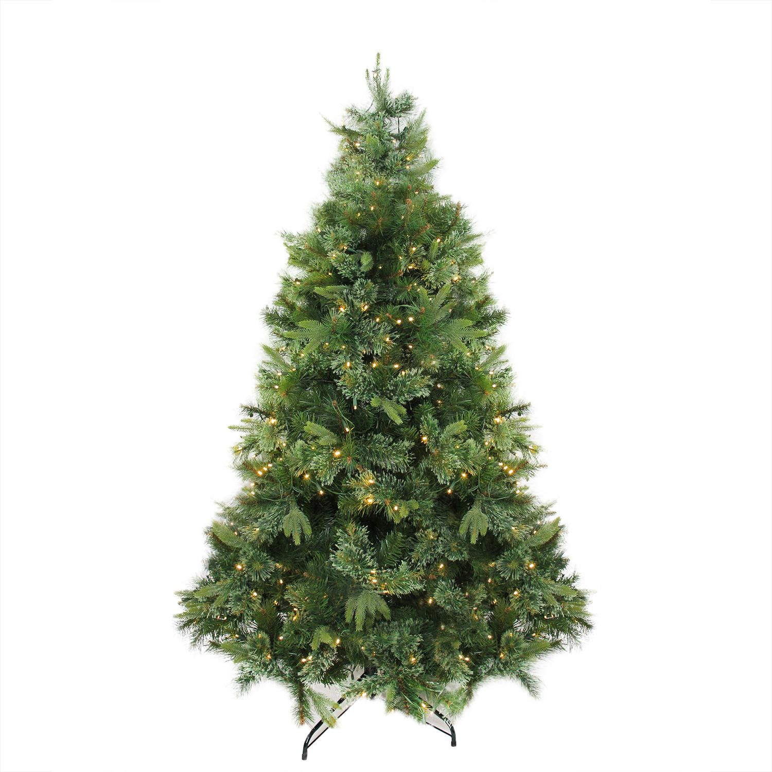 "9.5' x 67"" Pre-Lit Cashmere Mixed Pine Artificial Christmas Tree - Warm White LED Lights"