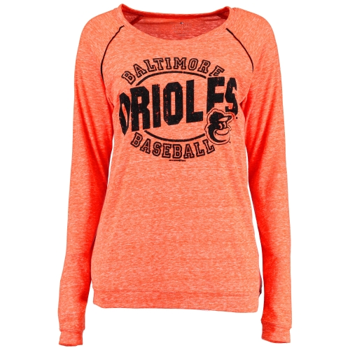 Women's 5th & Ocean by New Era Orange Baltimore Orioles Streaky Jersey Raglan Long Sleeve T-Shirt