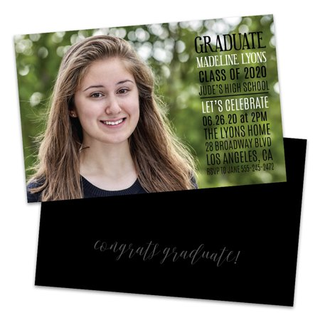 Personalized Full Photo Modern Text Graduation Party Invitation
