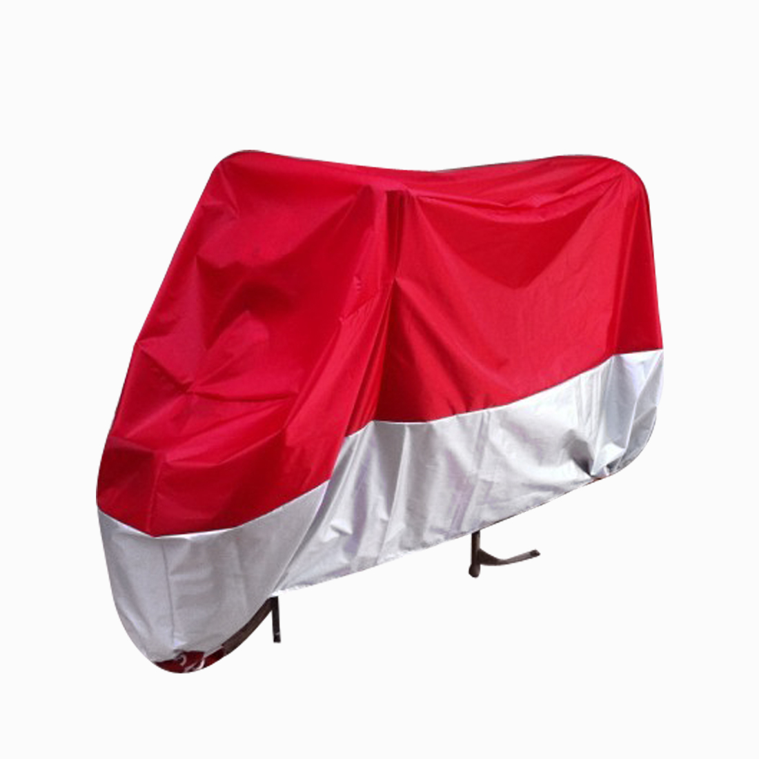 XL 180T Outdoor Anti-UV Motorbike Motorcycle Cover Rain Dust Resistant Red Silver