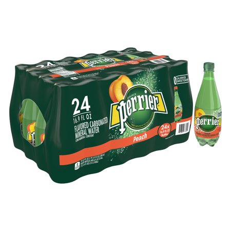 Perlier Peach (Perrier Peach Flavored Carbonated Mineral Water, 16.9 fl oz. Plastic Bottles (24 Count))