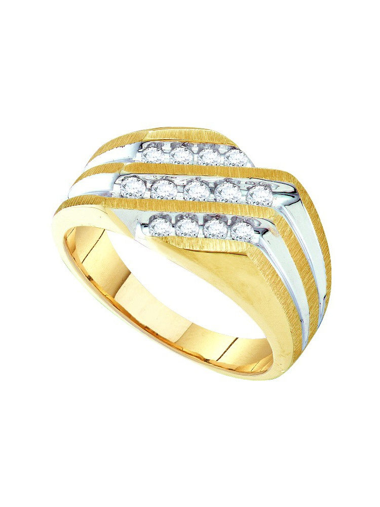 10kt Yellow Gold Mens Round Channel-set Diamond Triple Row Cluster Ring (.50 cttw.) by Mia Diamonds