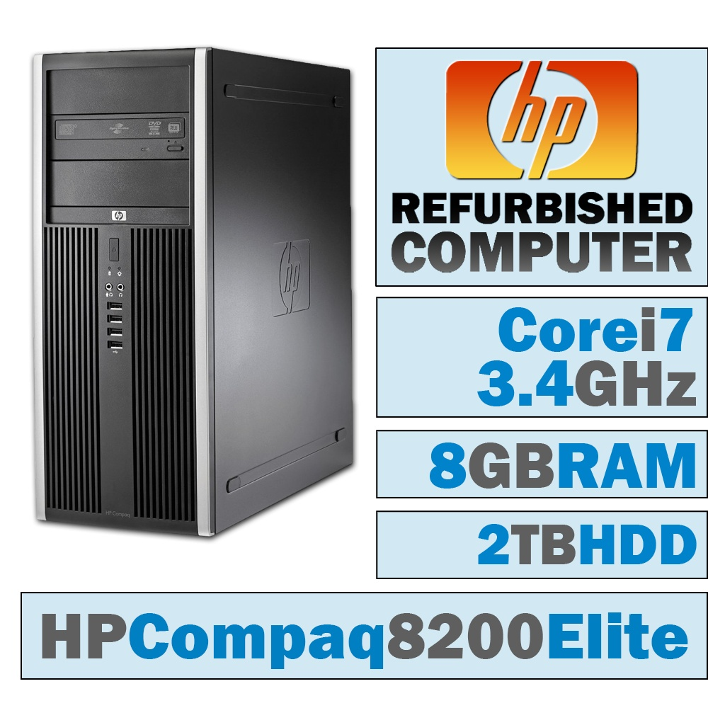 REFURBISHED HP Compaq 8200 Elite CMT/Core i7-2600 @ 3.4 GHz/8GB DDR3/2TB HDD/DVD-RW/WINDOWS 10 HOME 64 BIT