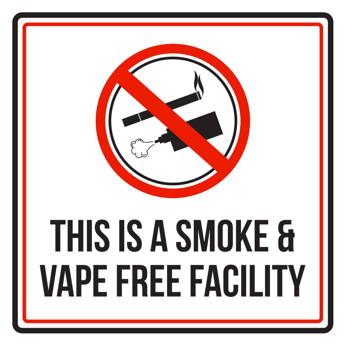 No Smoking E-Cig Vape Red White Print Swim Rules Swimming Picture Sign Metal