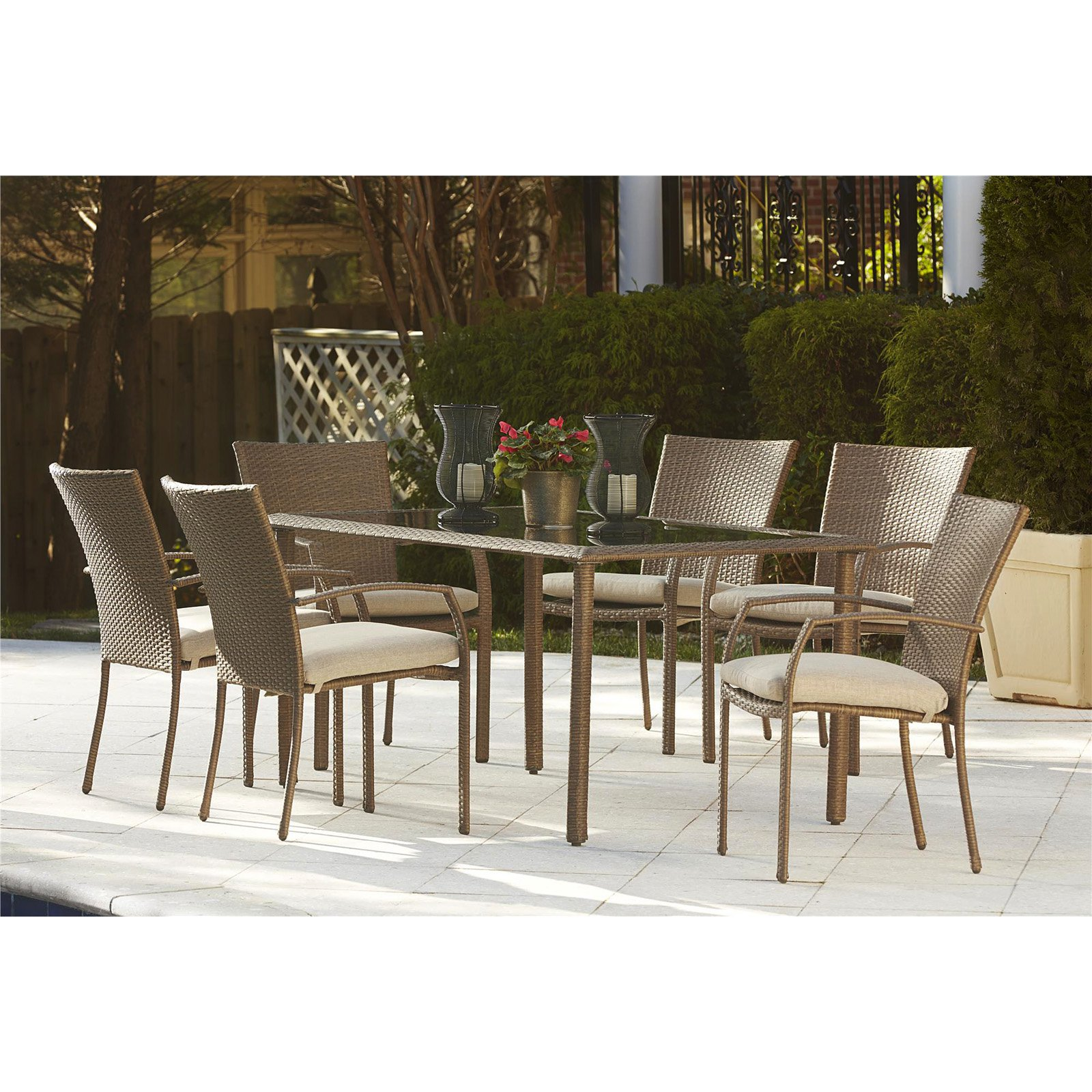 Cosco Outdoor 7-Piece Lakewood Ranch Steel Woven Wicker Patio Dining Set with Cushions, Brown