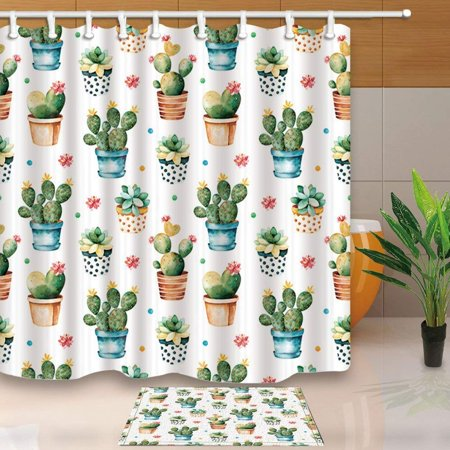- ARTJIA Watercolor Texture with Succulent Cactus Plant Shower Curtain 66x72 inches with Floor Doormat Bath Rugs 15.7x23.6 inches