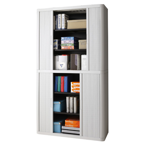 "Paperflow easyOffice Storage Cabinet, 80"" Tall with Four Shelves, Grey"