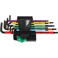 wera 05073599001 967 spkl/9 torx bo multicolor l-key set for tamper-proof torx screws, blacklaser, 9 pieces
