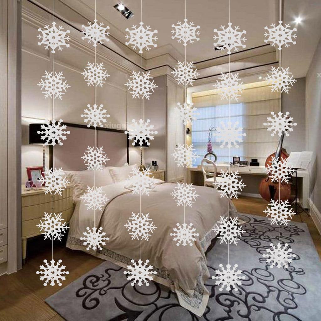 """9 pc White SNOWFLAKES 5/"""" 12/"""" Cutouts FROZEN Birthday Party Decoration"""