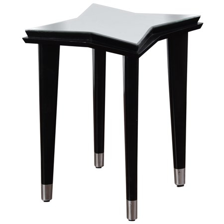 Constellation Star - Mirrored Top 4 Leg Side Table - Black/White Finish