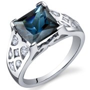 2.75 Ct London Blue Topaz Engagement Ring in Rhodium-Plated Sterling Silver